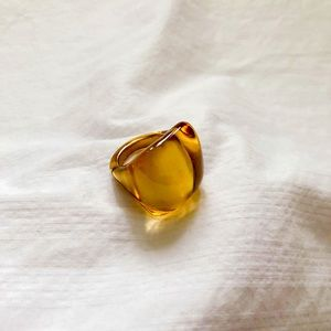 5/$18 Honey Yellow Gold Tone Square Cocktail Ring